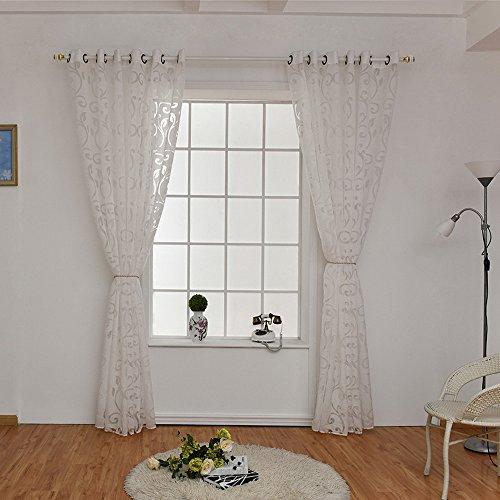 UREK 100cmx250cm transparant gordijn voile gordijn bloem patroon decoratieve sjaal met oogjes raam decoratie slaapsjaal voor woonkamer slaapkamer studeerkamer (1 stuks) 100cmx250cm Weiß(2 Stück)
