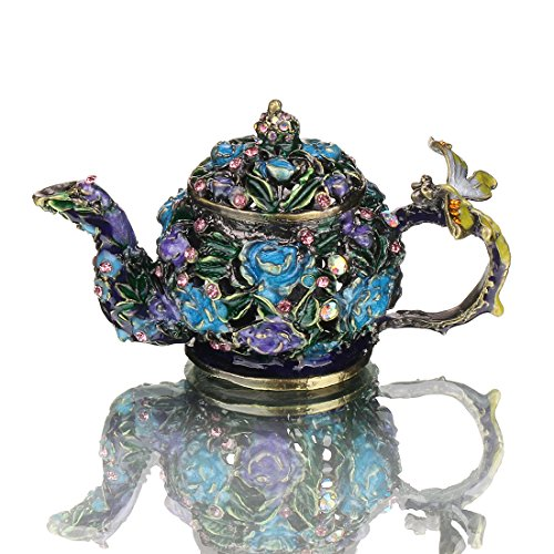 H&D Mini Teapot Trinket Box Hinged Hand-painted Figurine Collectible Ring Holder