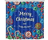 WS Merry Christmas Candy Wasserdichter Duschvorhang für Badezimmer, mit 12 Haken, 183 cm lang