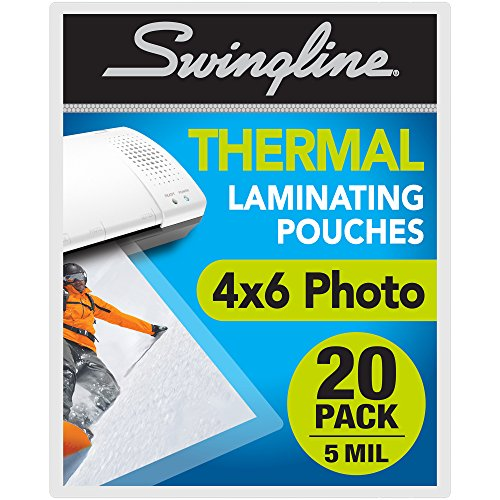 """Swingline Thermal Laminating Pouch, 4"""" x 6"""" Photo Size, 5mil, 20 per Pack (3202014)"""