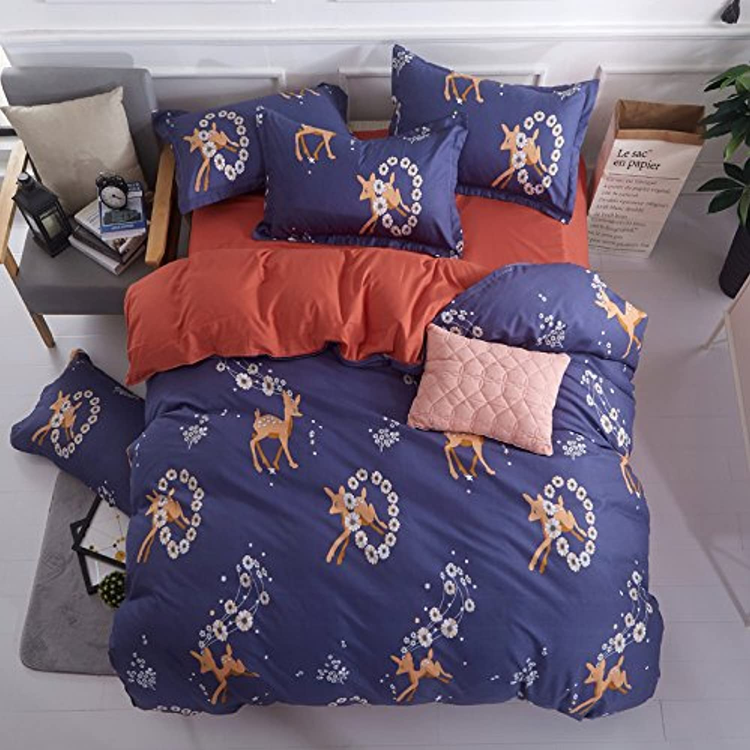 4pcs Beddingset Duvet Cover Set Include One Duvet Cover Without Comforter One Flat Sheet Two Pillowcases BL Twin Full Queen Deer Design (Queen, Deer, Purple)