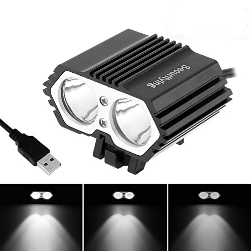 SecurityIng USB Powered Bicycle Light, LED Headlamp Waterproof 1800 Lumens 4 Modes Cycling Front Lamp Bike Headlight for Mountain Road, Kids and City Bicycle - No Internal Battery