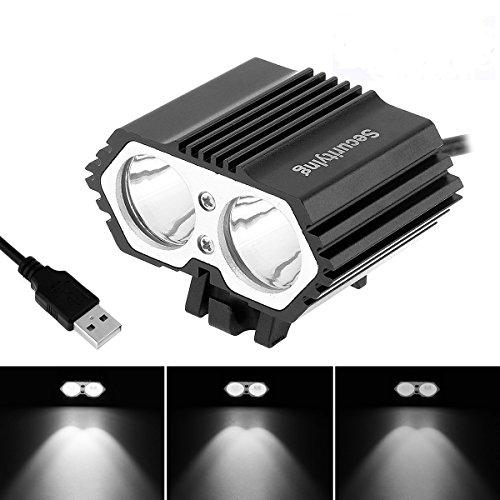 SecurityIng USB Powered Bicycle Light, LED Headlamp Waterproof 1800 Lumens...