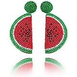 Beaded Dangle Earrings Watermelon - Oversized Handmade Summer Fruit Earrings with Colorful Drop for Women, Girls, Novelty Gifts (Red)