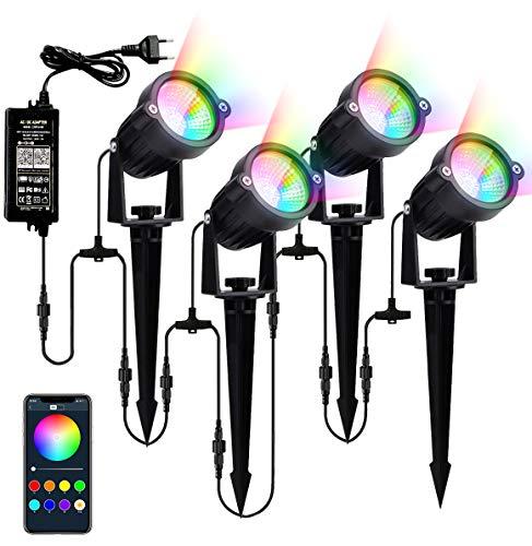 RGB Spot LED Extérieur, Nicetai Bluetooth contrôle téléphonique Éclairage Extérieur RGB Lampe Led Jardin 12W*4 Étanche IP65 Spot LED (4 in 1)
