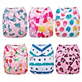 Anmababy Cloth Diapers, 6 Pack Adjustable, Waterproof, Washable Pocket Cloth Diaper Cover with 6 Bamboo Inserts and 1 Dry/Wet Bag for Baby Girls.(Girl)