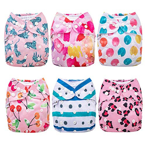 Anmababy Cloth Diapers, 6 Pack Adjustable Size, Waterproof, Washable Pocket Cloth Diaper Cover with 6 Inserts and 1 Wet Bag for Baby Girls.(Gril)
