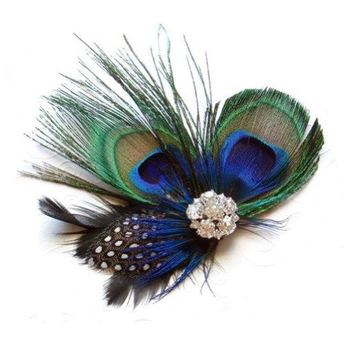 SODIAL Pince à Cheveux Plume de Paon Mignon
