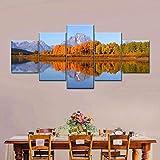 Laimi Parque de la naturaleza reflexión lienzo arte de pared 5 piezas moderno abstracto arte de pared imágenes con marco ilustraciones en lienzo para decoración de oficina en casa