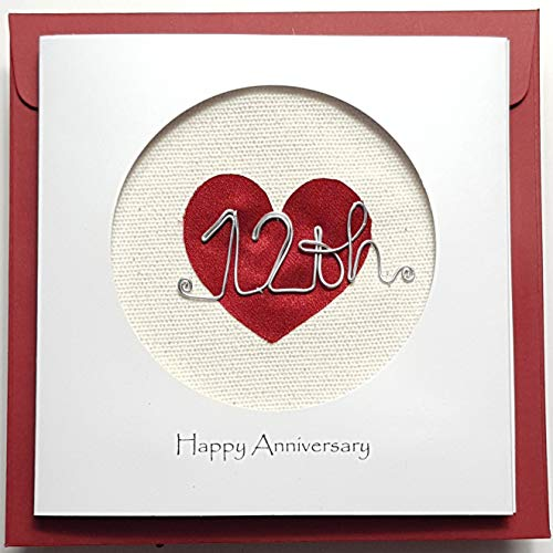 Real Silk 12th Wedding Anniversary Card For Her Him, Handmade Card for Happy Couple, Wife, Husband (12th)