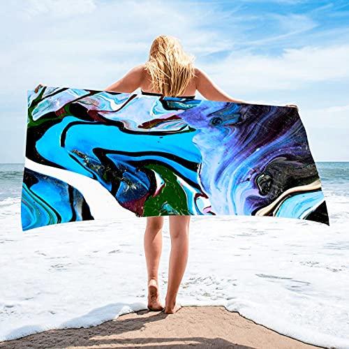 NHhuai Toalla de Playa de Microfibra,Toalla de Piscina Grande Esterilla de Yoga, Seque Rápidamente,Prevención de Arena para Viaje, Picnic Tela de Toalla Cuadrada Flow Gold