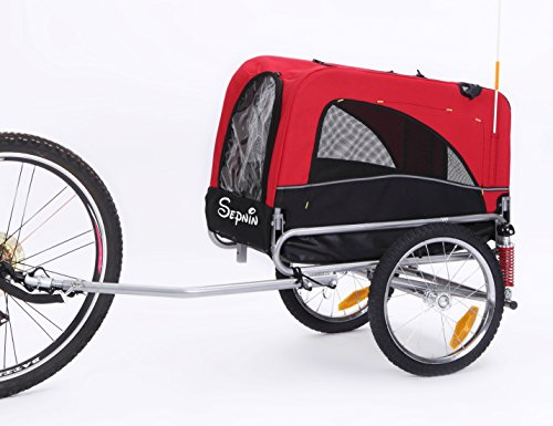 Sepnine Medium pet cart of 2 in 1 Small Sized Comfortable Bike Trailer Bicycle Pet Trailer/Dog Cage...