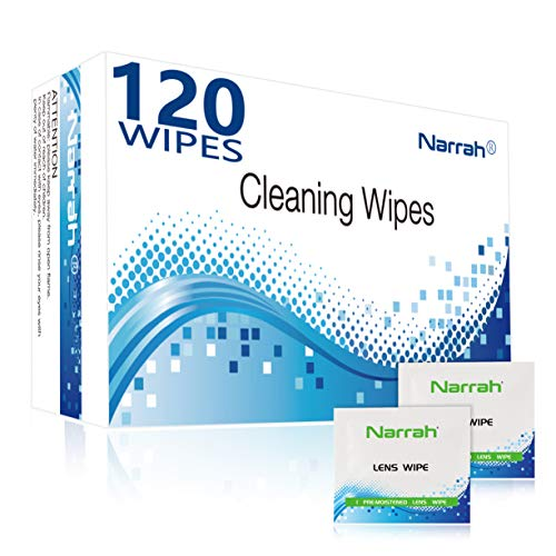 Lens Cleaning Wipes 120 Pre-moistened Glasses Cleaner Individually Packaged Eye Glasses Cleaning Wipes Suitable for Glasses Phones Camera Lenses Computer Screens and Other Delicate Surfaces