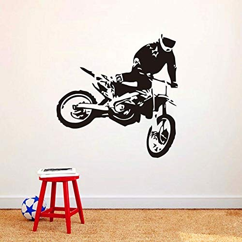 SUPWALS Pegatinas de pared Motocross Tatuajes De Pared Saltos Motocicleta Arte Puerta Ventana Vinilo Pegatinas Niños Dormitorio Club Sala De Juegos Decoración Para El Hogar Mural Creativo 57X58Cm