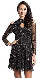 Black Lara 33155 Black Short Cocktail Mesh Fabric and Beaded Dress