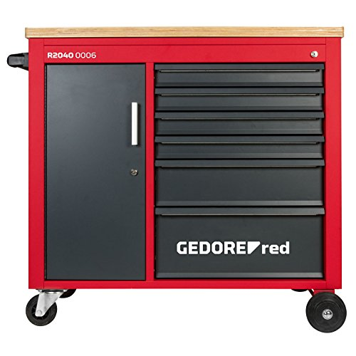 GEDORE red Werkstattwagen MECHANIC PLUS mit 6 Schubladen mit massiver Holzplatte