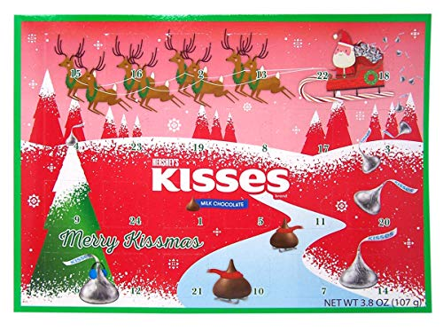 Hershey Milk Chocolate Kisses Candy Filled 2020 Christmas Advent Calendar, 13 3/4 Inch