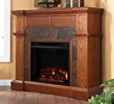 Southern Enterprises Cartwright Convertible Electric Fireplace, Mission Oak...