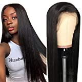 Straight Wigs Human Hair, VIPbeauty 150% Density Virgin Brazilian Straight Human Hair Lace Front Wigs for Black Women Glueless Lace Frontal Wig Pre Plucked with Baby Hair(14 Inch, Nature Color)