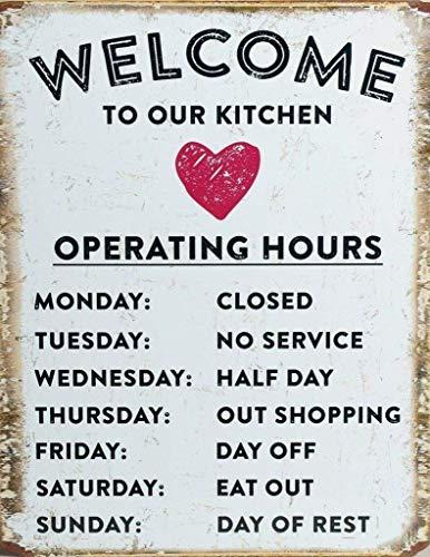882 BOPNMJ Reglas Signo de Horario de Operación, Café Cafetería Divertido 20 x 30 cm Vintage Metal Placa de pared Cartel para Cafe Bar Pub Bar Cocina o Tienda