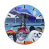 Mailine Pekinés Lindo Perro Pintura Divertida Mini Temática Patrón Impreso Diseño Reloj de Pared Cama de Estar Comedor Dormitorio Escritorio en casa Sin tictac