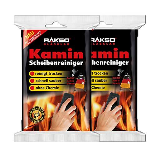 RAKSO Glas-Reiniger für Kamin-Scheiben Ofenglasreiniger Schwamm Kaminreiniger Kamin-Ofen und Kaminscheibenreiniger 2x2St