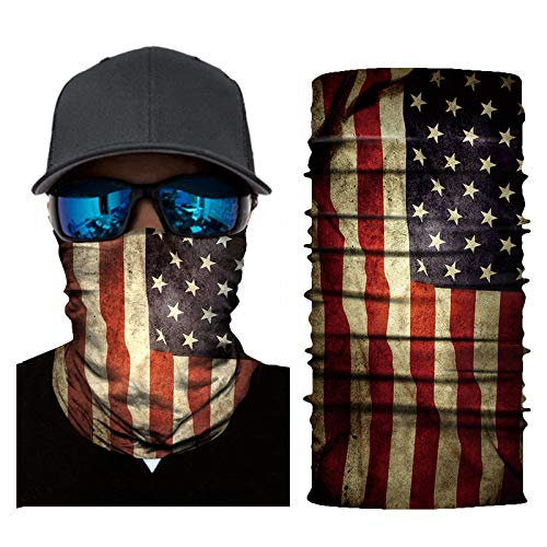 Feeke UV Face mask, American Flag Bandana, 3D Animal Face Sun Mask,Skull Mask Motorcycle Headwear, Magic Scarf, for Fishing, Hunting, Running, Ski (American Flag-1)
