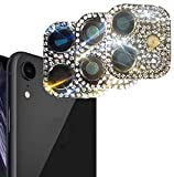Tomcrazy Applicable for iPhone Xr Seconds Change To for iphone 11 Bling Imitation Diamond Rhinestone Camera Cover Sticker Metal Lens Cap Protector Silver