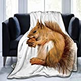 Cute Squirrel Throw Blanket Super Soft Comfy Micro Fleece Fuzzy Blanket Decorative Blanket Hypoallergenic for Bed Couch Chair Living Room