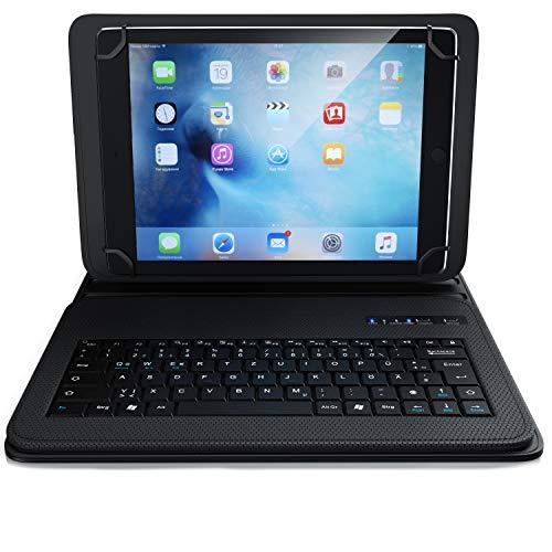 CSL - Bluetooth Tastatur mit Schutzhülle für 9-12 Zoll Tablets - magnetische Befestigung - Lightweight Design - Multimedia Funktionstasten - QWERTZ Layout