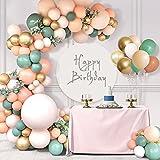 Unisun 114 piezas de salvia verde oliva arco kit macaron retro rosa pastel albaricoque globos dorados metálicos guirnalda para niños neutros baby shower cumpleaños boda aniversario fiesta decoraciones