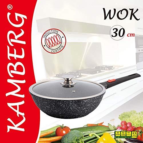Kamberg 0008057 - Wok (30 cm, mango extraíble, aluminio fundido, revestimiento de piedra, tapa de cristal, apta para todo tipo de fuegos, incluso inducción, sin PFOA)