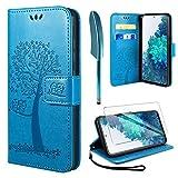 AROYI Kompatibel mit Samsung Galaxy S20 FE 5G Hülle mit Panzerglas, PU Leder Flip Wallet Schutzhülle für Samsung Galaxy S20 FE 5G Tasche, Blau