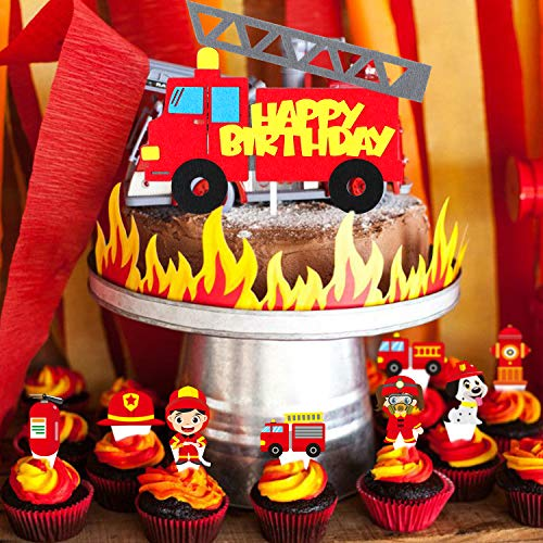 MALLMALL6 49Pcs Firetruck Themed Cake Topper Cupcake Toppers Firefighter Birthday Party Supplies Cakes Decoration Set Fire extinguisher Fire Cap Fireman Party Favor Dessert Decor for Kids Baby Shower