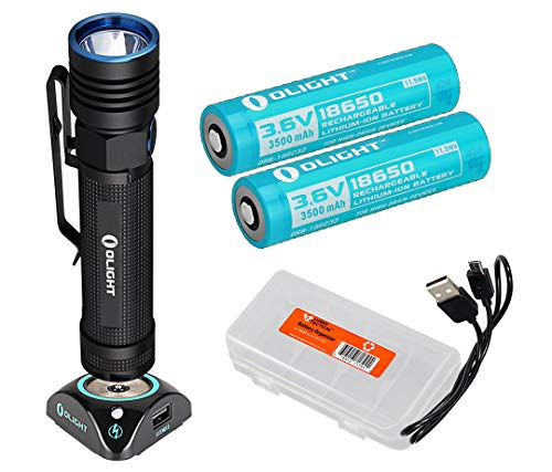 Olight S30R Baton III 1050 Lumen Rechargeable LED Flashlight, Two High Capacity batteries, Charging Dock, LumenTac Battery Case