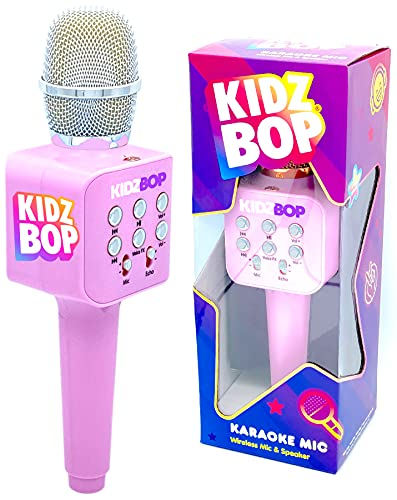 Move2Play Kidz Bop Karaoke Microphone Gift, The #1 Music Brand for Kids, Toy for 4, 5, 6, 7, 8, 9, 10 Year Old Girls and Boys, Pink