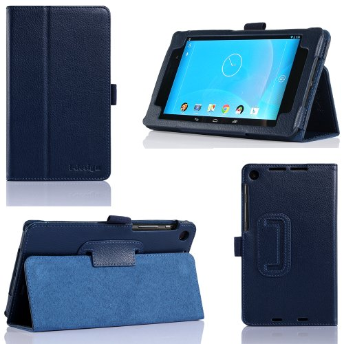 i-design Nexus 7 FHD Premium Leather Case with Flip Stand, Stylus Loop and Wake/Sleep Function (Nexus 7 FHD (2013), Blue)