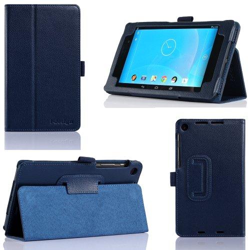 i-design Nexus 7 FHD Premium Leather Case with Flip Stand, Stylus Loop and Wake/Sleep Function (Nexus 7 FHD (2013), Blue)