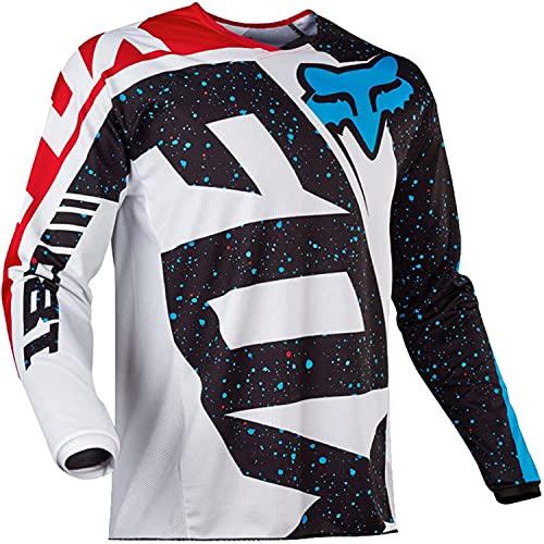 Maglia Ciclismo Maniche Lunga, Maglietta Mountain Bike Uomo Asciugatura Veloce T-Shirt Off-Road Sportswear (Rosso,XXL)