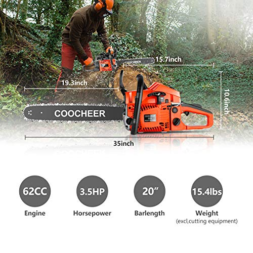 "Tinfancy 62CC Chainsaw, 20"" 2-Stroke Portable Gas Chainsaw, Handed Petrol Woodcutting Saw with Tool Kit"