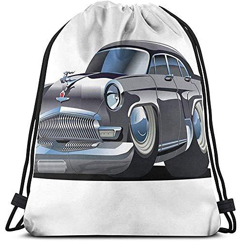 Kordelzug-Tasche, Kordelzug-Tasche, Rucksack, Retro-inspiriertes Auto-Design mit asymmetrischen Reifen, schnelle Autogeschwindigkeit, cooles Logo, Sporttasche, Reisesack