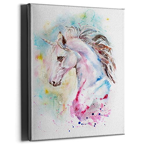 PKONE Cute Unicorn Canvas Wall Art Watercolor Artwork Painting Framed Prints Home Decoration for Living Room Bedroom Bathroom Kitchen 12x16 Inches