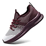 YZWUOWM Athletic Sport Running Gym Workout Shoes Lightweight Breathable Comfort Gym Trainers Walking Shoes for Men Casual Fashion Sneakers Tennis Shoes Dark Red 8.5