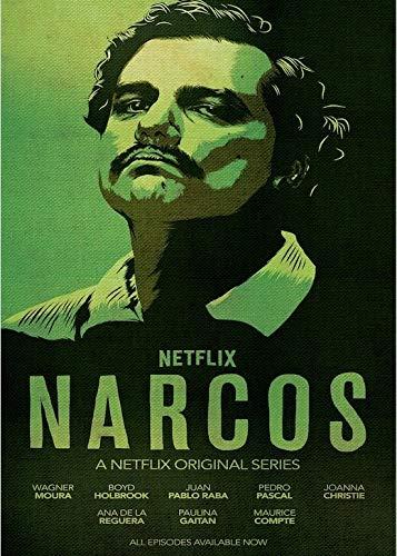 adgkitb canvas Narcos Kolumbien Pablo Emilio Escobar Gaviria Verbrechen TV-Serie Vintage Poster Leinwand Malerei DIY Wandkunst Home Bar Poster Dekor 50x60cm