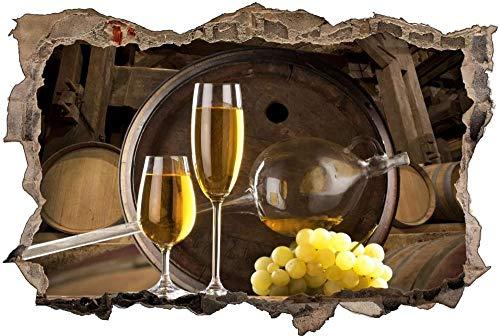 Calcomanía de Pared 3D Uvas en barril de vino Agujero Etiqueta de La Pared Adhesivos de Pared para Interior Hogar Sala de Estar Decoración de Oficina 70x110cm