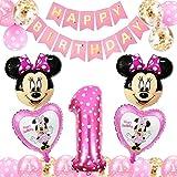 FANDE Palloncini Party Minnie, Forniture per Feste di Compleanno di Topolino Topolino e Minnie Articoli per Feste Ghirlanda di Banner per Baby Shower Decorazio(Rosa)