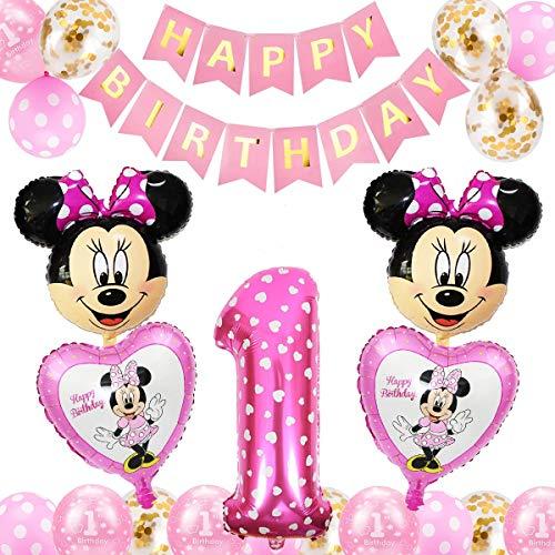 Palloncini Party Minnie, FANDE Forniture per Feste di Compleanno di Topolino Topolino e Minnie Articoli per Feste Ghirlanda di Banner per Baby Shower Decorazio(Rosa)