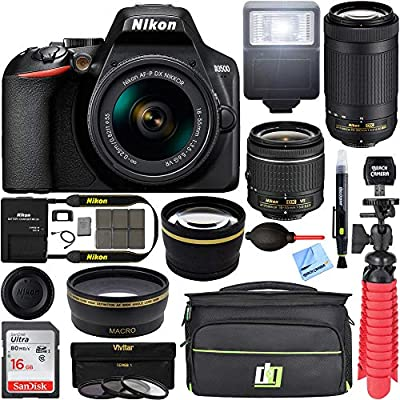 Nikon D3500 24.2MP DSLR Camera with AF-P 18-55mm VR Lens & 70-300mm Dual Zoom Lens Kit 1588 (Renewed) with 16GB Accessory Bundle by Nikon