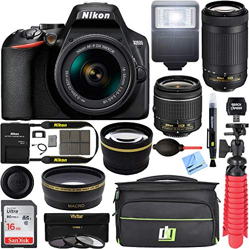 Nikon D3500 24.2MP DSLR Camera with AF-P 18-55mm VR Lens & 70-300mm Dual Zoom Lens Kit 1588...