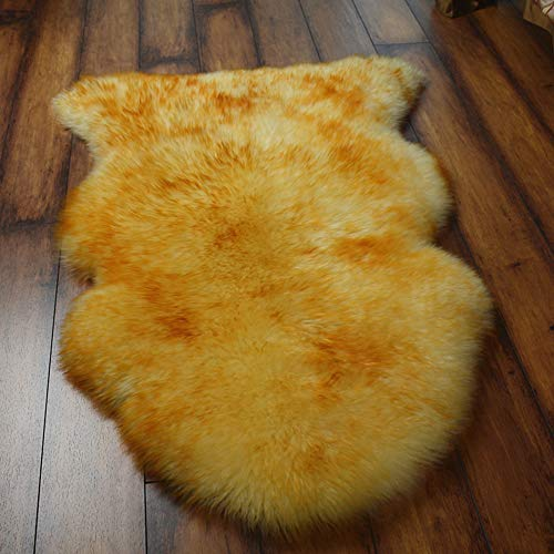 DOOT Soft Faux Sheepskin Chair Cover Seat Cushions,Imitation Sheepskin Plush Rugs Fluffy Area Carpets for Bedroom Floor Sofa Living Room-Golden 75x100cm(30x39inch)